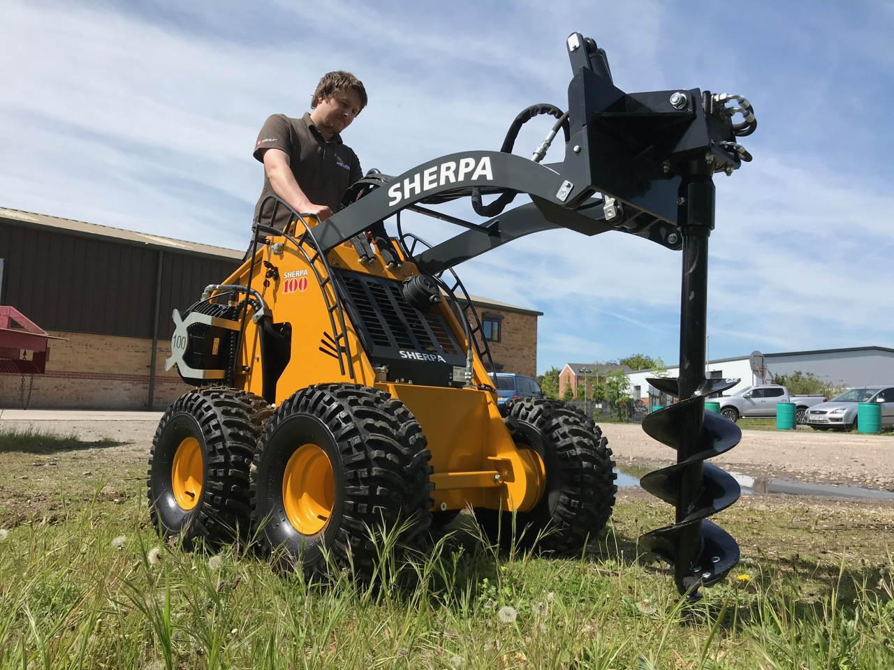 Sherpa 100 Diesel Mini Skidsteer Loader with Auger Earth Drill
